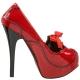 Escarpins plateforme intérieur rouge vernis talon haut TEEZE-01