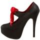 Escarpins à lacets rouges et noirs pailleté talon plateforme TEEZE-04G