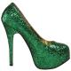Escarpins Burlesques Verts à Paillettes Talon Haut TEEZE-06G