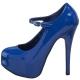Escarpin Bleu à Brides Plateau et Talon Haut TEEZE-07