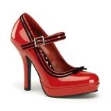 Chaussures escarpins à bride coloris rouge et noir talon haut secret-15