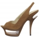 Sandales de Luxe en Microfibre Caramel Talon Plateforme DELUXE-653