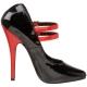 Escarpins Mary Jane Noirs & Rouges Talon Aiguille DOMINA-442