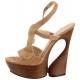 Sandales de Luxe en Cuir Taupe Talon Compensé SWAN-657