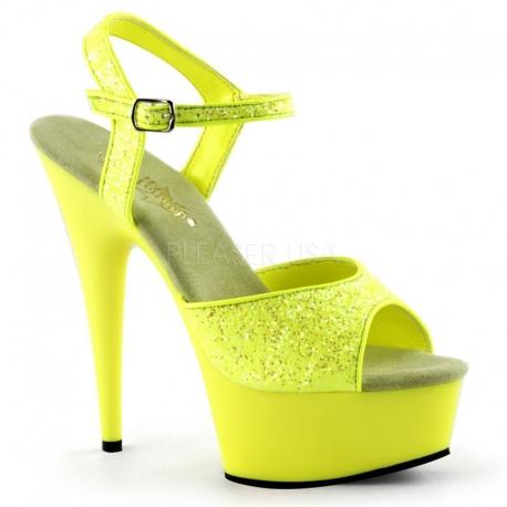 Sandale UV jaune à bride talon haut plateforme DELIGHT-609UVG