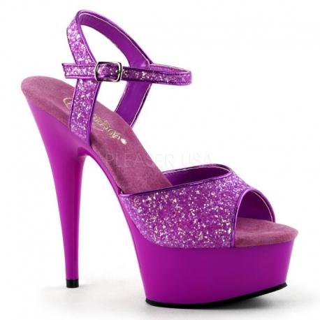 Sandale UV violette à bride talon haut plateforme DELIGHT-609UVG