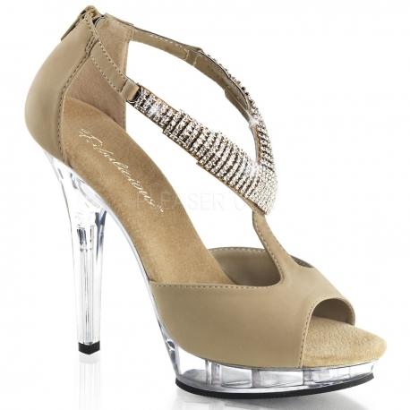 Sandale en nubuck caramel bride à strass talon haut LIP-155