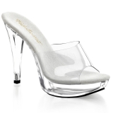 Mules bicolores transparentes et blanches talon haut COCKTAIL-501