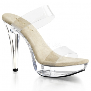 Mules à double brides transparentes talon haut COCKTAIL-502