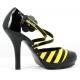 Escarpins jaunes et noirs à brides croisées talon haut BUZZ-68