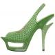 Nu-Pieds Haute Couture Vert Talon Plateforme DELUXE-654RS