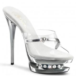 Chaussures mules argentées et transparentes plateforme BLONDIE-R-601H