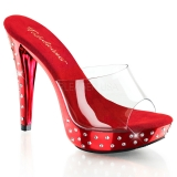 Chaussure mule rouge et transparente talon strass cocktail-501sdt