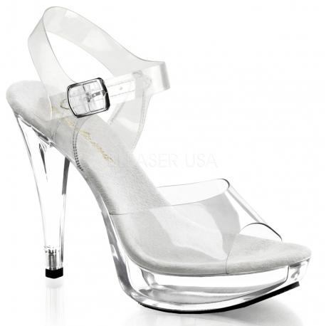 Chaussures sandales transparentes à bride cheville talon haut cocktail-508