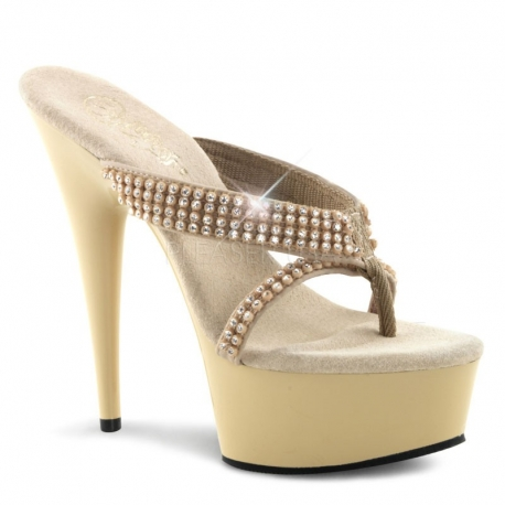 Chaussures tongs entre doigt beiges à strass talon haut delight-603-1