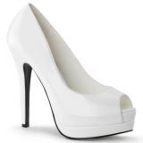Escarpins Peep Toe coloris blanc vernis