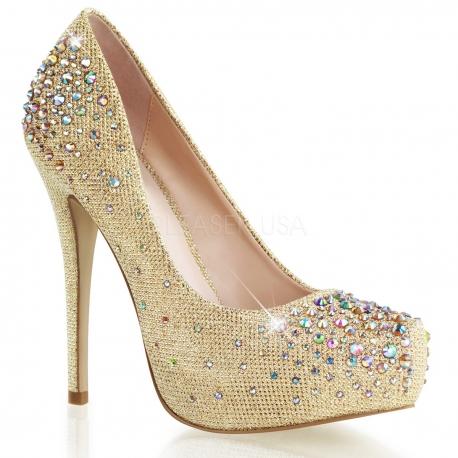 Chaussures escarpins dorées strass talon haut destiny-06r