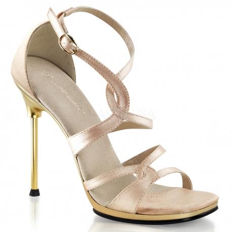 Chaussures en satin champagne sandale à brides croisées talon fin chic-46
