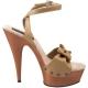 Chaussures nu-pieds en cuir caramel talon imitation bois delight-642w