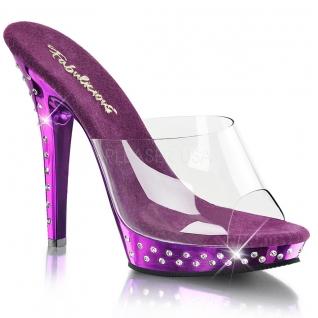 Chaussures mules féminines transparentes et violettes talon fin lip-101sdt