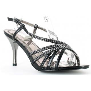 Chaussures modes femmes nu-pieds à fines brides noires et strass talon fin