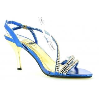 Chaussures tendances femmes sandales turquoises et strass talon fin