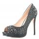 Chaussures été femme escarpin Peep Toe coloris noir talon fin heiress-22r