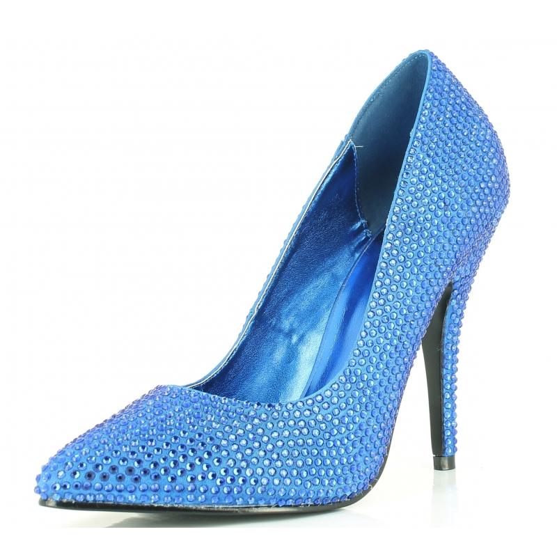 soulier fille bleu escarpin habill paillettes talon. Black Bedroom Furniture Sets. Home Design Ideas