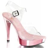Chaussures transparentes nu-pieds à bride roses talon fin cocktail-508