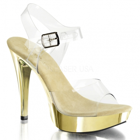 Chaussures d'été transparentes sandales dorées talon haut cocktail-508