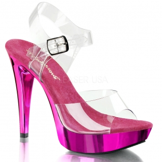 Chaussure mode transparente sandale coloris fushia à talon cocktail-508