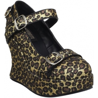 Chaussures mode gothique escarpins à bride en léopard talon compensé