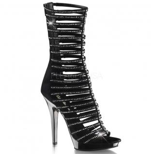 Chaussures spartiates sandales à brides noires et strass talon haut