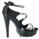 Chaussures habillées sandales en satin noir et strass talon haut