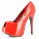 Escarpins Peep Toe coloris rouge vernis talon haut plateforme teeze-22