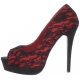 Chaussures en dentelle rouge escarpins Peep Toe talon haut bella-16
