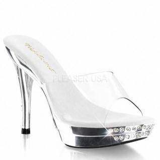 Chaussures transparentes mules de soirée à strass talon haut grace-401