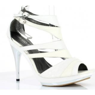 Chaussures été femmes sandales à brides coloris blanc et crème talon haut