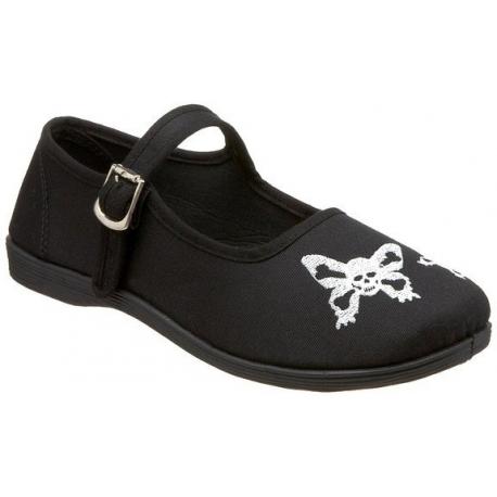 Chaussures filles ballerines plates noires tête de mort sassie-17