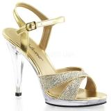 Chaussures à paillettes sandales à brides dorées à talon flair-419g