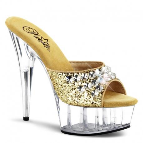 Chaussures à strass mules dorées haut talon delight-601bj