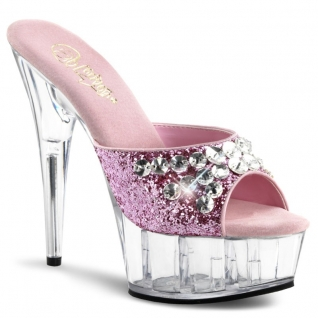 Chaussures à paillettes mules roses talon haut plateforme delight-601bj