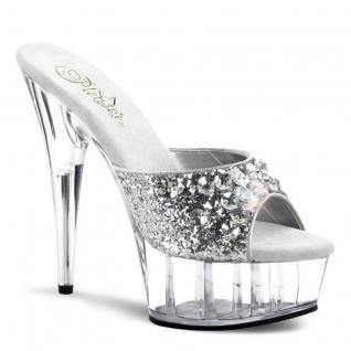 Chaussures d'été argentées mules à strass talon haut plateforme delight-601bj