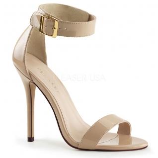 Chaussures d'été femme sandales à bride cheville caramel talon aiguille amuse-10