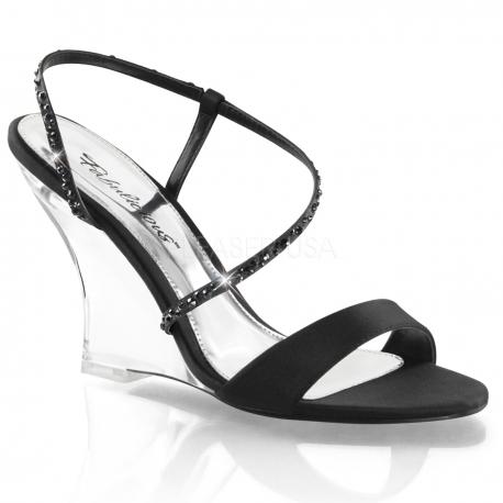 Chaussures compensées nu-pieds à brides noires lovely-417