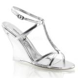 Chaussures compensées sandales argentées à bride cheville lovely-428
