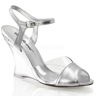 Chaussures talon compensé sandales argentées à brides lovely-442