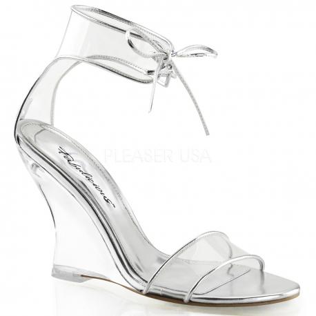 Chaussures talon compensé nu-pieds transparents à lacet lovely-460