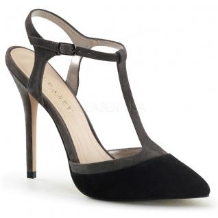 Chaussures en cuir escarpins d'Orsay noirs talon aiguille amuse-17