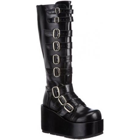Chaussures gothiques bottes compensées noires talon plateforme concord-108
